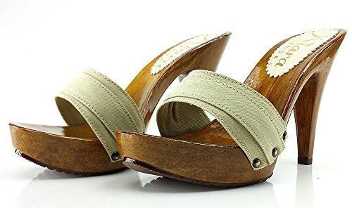 kiara shoes Clogs Beige Heel 11 cm K21101 Beige ctlnsCMXHJ