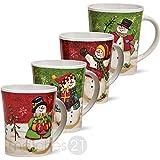 matches21 Coupes de Noël Coupes Bonhomme de neige 4 pièces Set chaque tasse de vin chaud en céramique 11cm / 450ml tasses à café motifs de Noël décor de Noël