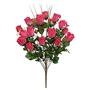 "27"" M.P Rose Bud Bush Artificial Silk Wedding Centerpieces Flowers Bridal Bouquet 24 Roses Buds 2"