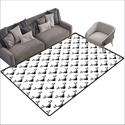 Multi-USE Floor MAT Deer,Pattern with Deer Heads Silhouettes Horn Curvy Wildlife Forest Creative Design Print,Black White 36