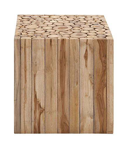 Deco 79 38425 Teak Wood Square Stool, 18