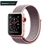 Easy Watch Sport Loop Band, Fastener Adjustable Closure Wrist Strap Lightweight Breathable Nylon Replacement Band for Apple Watch Nike+, Series 3/2/1, Sport, Edition (38MM, Pale Pink & Pink Sand)