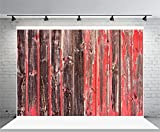 10x6.5ft Laeacco Vinyl Photography Background an Old Worn Barn Antique Wooden Fence with Chipped Red Paint Christmas Wood Texture Countryside Backdrop Children Photo Portrait Shoot Video Prop