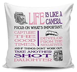 La vida es como una cámara hija cojín con interior/insertar–Rosa/Morado