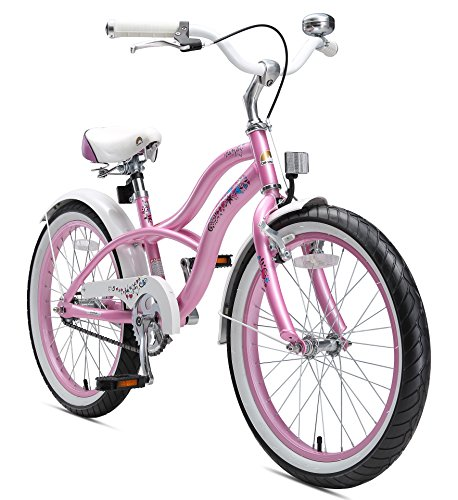 BIKESTAR Original Premium Safety Sport Kids Bike Bicycle with sidestand and Accessories for Age 6 Year Old Children | 20 Inch Cruiser Edition for Girls | Glamour Pink