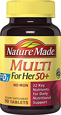 Nature Made Multi For Her 50+ Tablets w. D3 - 22 Essential Vitamins & Minerals 90 Ct