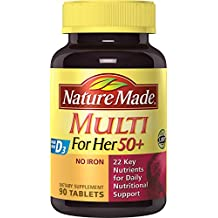 Nature Made Multi For Her 50+ Tablets w. D3 - 22 Essential Vitamins & Minerals 3 Pack