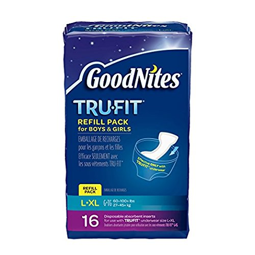 : GoodNites TRU-FIT Refill Pack Disposable Absorbent Inserts for Boys & Girls L/LX - 16 CT