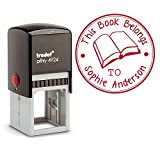 Red Ink, Self Inking Personalized Teacher Stamp This Book Belongs To School Student Open Book Library Book Stamper Custom Large Round 3 Lines Customized Personal Teacher Appreciation Book Label