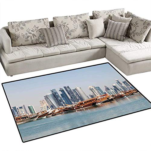 Modern Bath Mats Carpet Qatar City Skyline at Dhow Middle Eastern Coast with Ships Skyscrapers View Door Mats for Inside Non Slip Backing 4'x6' Pale Blue Cinnamon