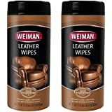 Weiman Leather Wipes - 30 Count (2 Pack) - Clean Condition UV Protection Help Prevent Cracking or Fading of Leather Couches, Car Seats, Shoes, Purses