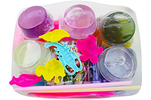 48 Piece Slime Kit for Making DIY Crystal Clear Rainbow Unicorn Slime 24 Colors Slime 6 Pack Foam Beads 5 Animal Molds Fruit Slices and Glitter Accessories for Boys and Girls for an Ultimate Slime Kit by Fun Frenzy (Image #6)