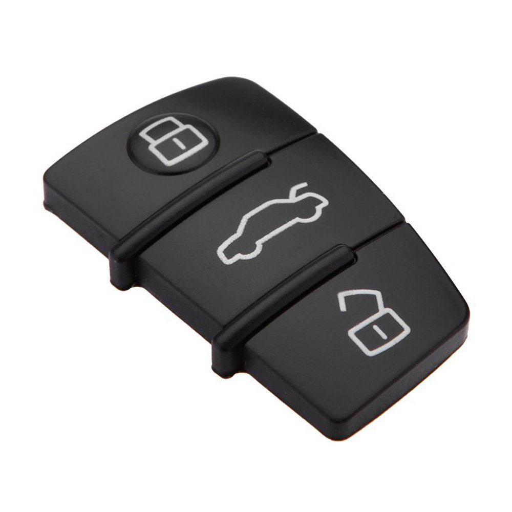 SODIAL New Replacement 3 Button Keyless Entry Remote Rubber Pad for Audi Remote Car Key Fob Case black R