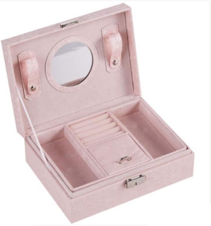 SMEJS Joyería Caja de Color Rosa, Multifuncional de 2 Capas joyero de Cuero Organizador con la manija, Collar Organizador de la joyería Caja de Almacenamiento