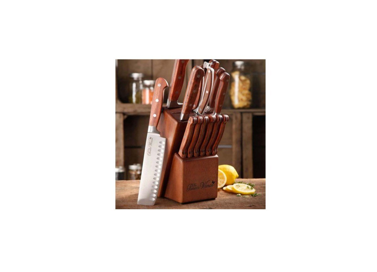 The Pioneer Woman 14 piece Cowboy Rustic Rosewood Cutlery Set with Storage Block