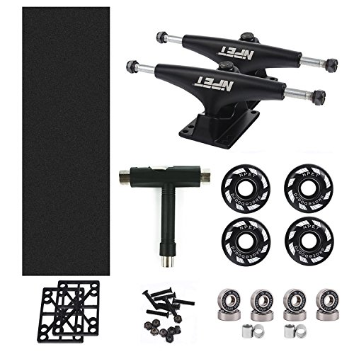 NPET Skateboard Bearings, Skateboard Wheels 52mm, Skateboard Trucks, Skateboard Grip Tape, Skate Tool Combo Set (Black)