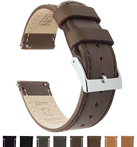 BARTON Quick Release Top Grain Leather Watch Band Strap - Choose Color & Width (18mm, 20mm or 22mm) - Saddle Brown 20mm