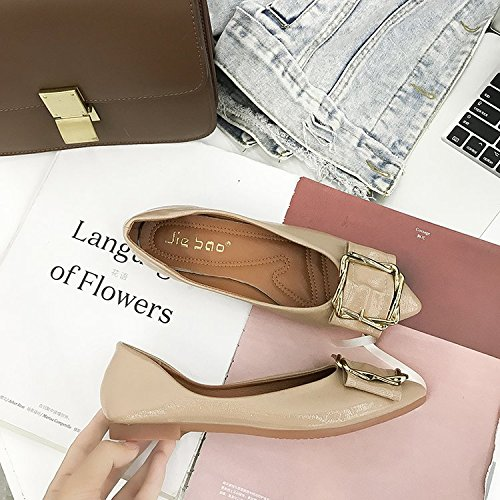 Xue Qiqi Elegante Hebilla metálica Punta Solo Zapatos Zapatos de Mujer con Fondo Plano Que Wild Anti-Deslizamiento de Zapatos de Mujer Embarazada Caqui