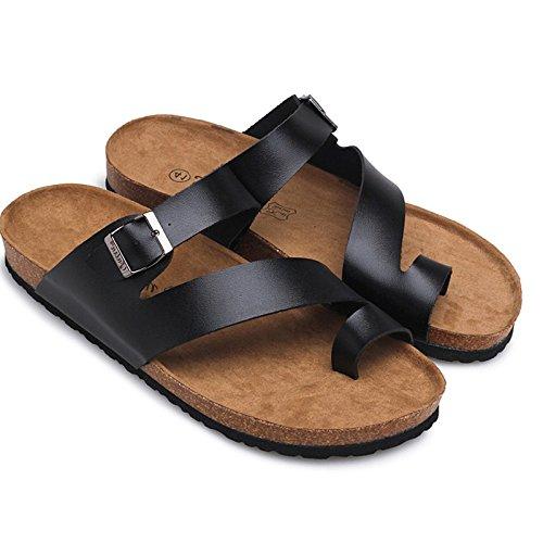 Xing Lin Sandalias De Hombre Las Parejas De Hombres Zapatillas De Corcho Sandalias De Moda De Verano Chanclas Sandalias Y Pantuflas Fuera Flip Flops 38 Negro + Negro 1208 Negro