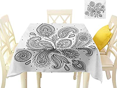familytaste Table Cover Tablecloth Henna,Eastern Inspired Various Ornamental Patterns Circles Lines Monochrome Image Print,Black White Fabric Decorative Table Top Cover