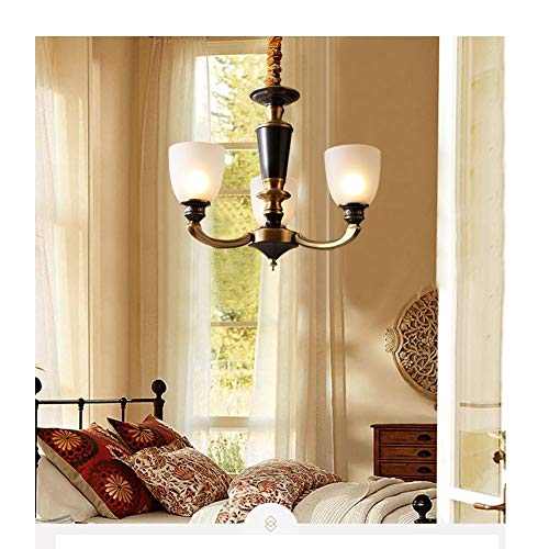 Noble.store - Chandelier Copper Chandelier Retro Copper Lamp Pendant Light Simple Imitation Marble Lam Chandelier ()