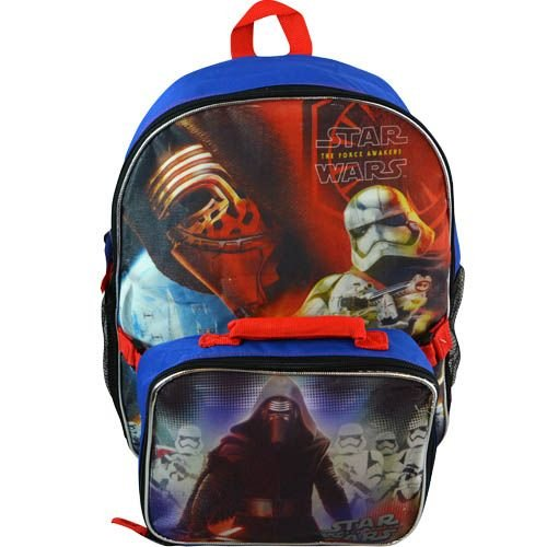 Boys Star Wars Episode 7 The Force Awakens Large Full Size Backpack and Lunch Bag for School Featuring Stormtrooper & Kylo Ren, Blue/Multicolor, 16