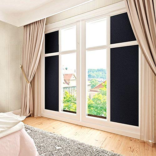 Coavas Privacy Window Film, Non Adhesive Static Cling Vinly Window Film Both Suitable for Home and Office (Black, 17.7 by 78.7 Inch) by Coavas (Image #4)'