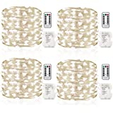 GDEALER 4 Pack Fairy Lights Halloween String Lights Battery Operated Waterproof 8 Modes Remote Control 50 Led String Lights 16.4 Ft Copper Wire lights for Bedroom Wedding Christmas Decor Cool White