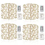 GDEALER 4 Pack 16.4 Feet 50 Led Fairy Lights Battery Operated with Remote Control Timer Waterproof Copper Wire Twinkle String Lights for Bedroom Indoor Outdoor Wedding Dorm Decor Cool White