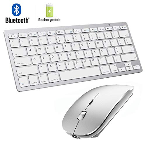 Bluetooth Keyboard and Mouse for iPad and iPhone Bluetooth Keyboard Compatible with iPad/iPad Pro/iPad Air/iPad Mini and Other Bluetooth Enabled Devices (iPadOS 13 / iOS 13 and Above) (Silver)