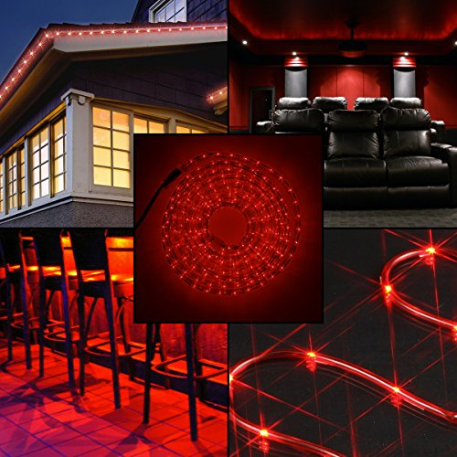 10pk 5ft American Lighting Red LED Rope Light Christmas Holidays Indoor Outdoor]()