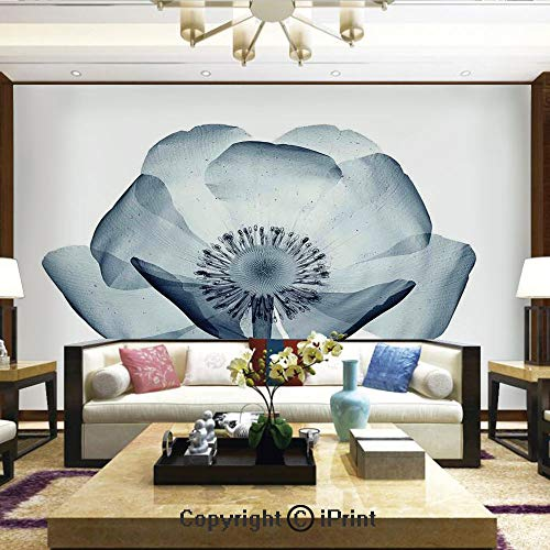 Lionpapa_mural Removable Wall Mural Ideal to Decorate Your Living Room,Closer Vision of a Poppy Flower Inner Structure of a Complex Nature Stylish Home,Home Decor - 66x96 inches