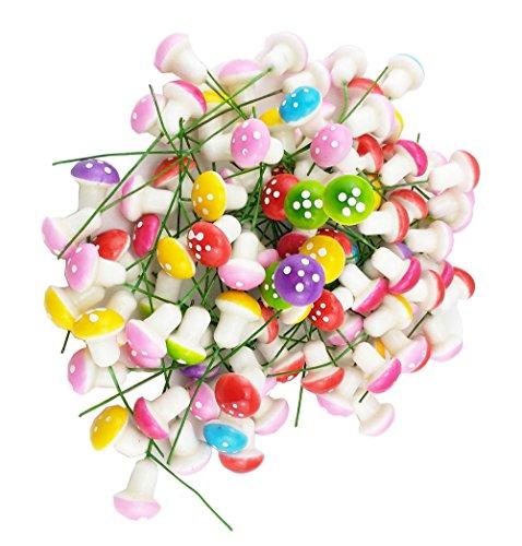 yueton Pack of 100 Mini Foam Mushroom for Garden Ornament Flower Pots Bonsai Micro Landscape Decor (Assorted color) (Figurines Mushroom Garden)