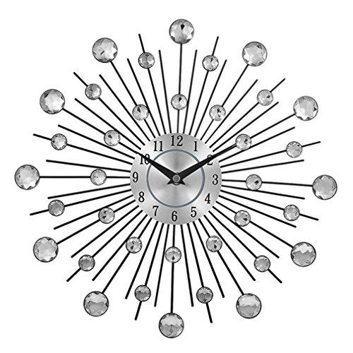 liveleafa Vintage Metal Crystal Sunburst Wall Clock Diamond Large Morden Wall Clock -