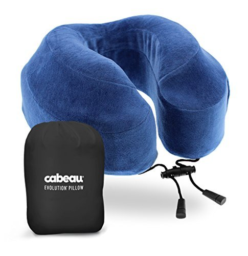 cabeau Evolution Memory Foam Travel Pillow – La mejor almohada de cuello con 360 Head & Neck Support, azul (Cabeau Blue)