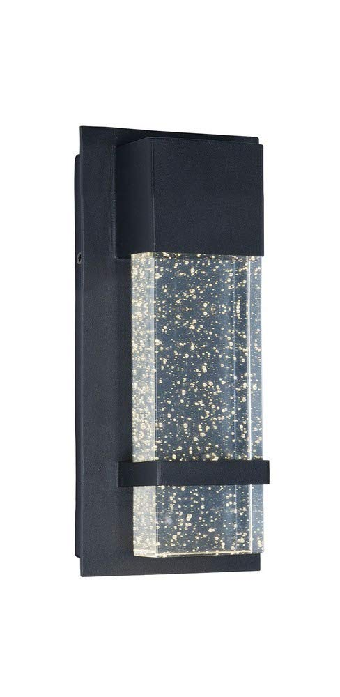 Maxim 55912BGBK Cascade LED Outdoor Wall, Black Finish, Bubble Glass Glass, PCB LED Bulb , 26W Max., Damp Safety Rating, 2700K Color Temp, Shade Material, 1760 Rated Lumens