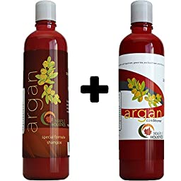 Argan Oil Shampoo and Hair Conditioner Set - Argan, Jojoba, Almond Oil, Peach Kernel, Keratin - Sulfate Free - Safe for Color Treated, Damaged and Dry Hair - For Women, Men, Teens and All Hair Types