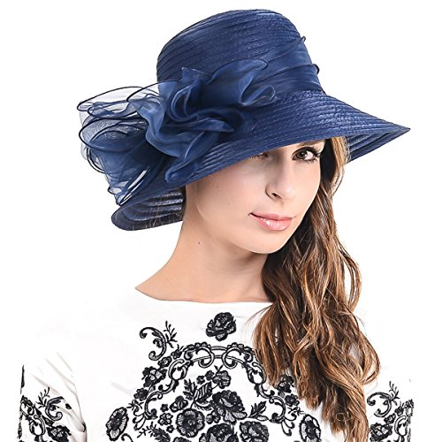 Fanny Cloche Oaks Church Dress Bowler Derby Wedding Hat Party S015 (Bow-Navy)