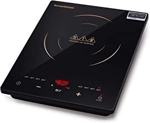 Bonsenkitchen 1800W Portable Induction Cooktop w ETL & FCC Approved, Electric Single Countertop Burner with LCD Touch Screen Sensor and Digital Timer