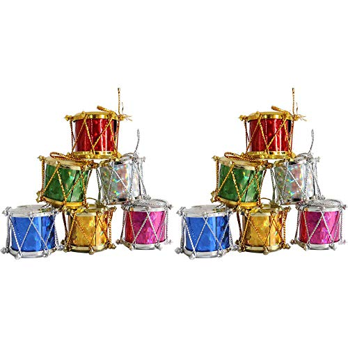 Pausseo 12-Pack Merry Christmas Mini Bongo Drum Pendant Set Xmas Tree Hanging Ornament Santa Claus Snowman Elk Cloth Family Art Decoration House Home Decor Children Small Gift Festival Toy Doll Kit
