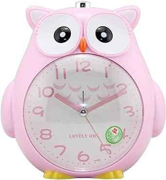 funnyfeng Réveil à Piles Réveil Enfant avec Lumière de Nuit Douce Mignon Hibou pour Étudiants Lit Snooze Fonction Horloge Alarme Forte pour Chambre