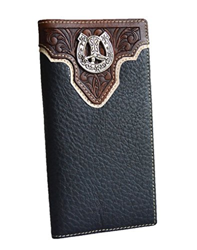 Concho Mens Boots - Men western brown black horseshoe boot concho slim leather long bifold wallet (BLACK)