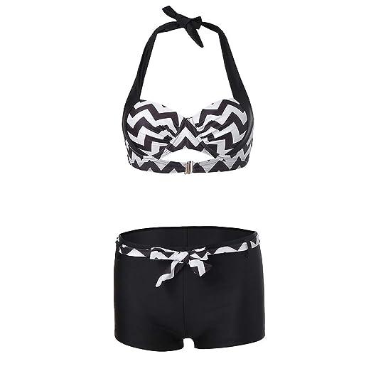 208775e123ab Amazon.com: Women Two Piece Bikini Halter Neck Swimsuit Tankini Sets  Beachwear Bathing Suits Swimwear Swimdress: Clothing