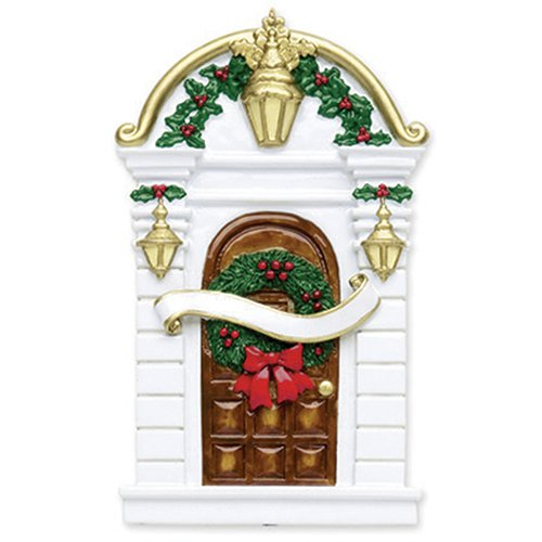 Ornament Wreath House (Personalized Holy Door Christmas Ornament for Tree 2018 - White Brown Wood Our New Apartment with Ribbon Garnished Wreath - 1st Elegant Front First Home Family House-Mate Room - Free Customization)