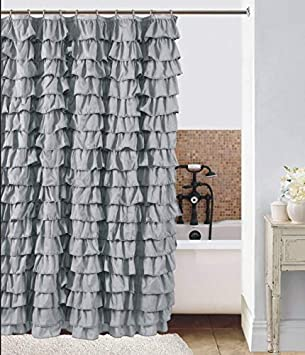 Amazon Waterfall Silver Ruffled Shower Curtain Home Kitchen