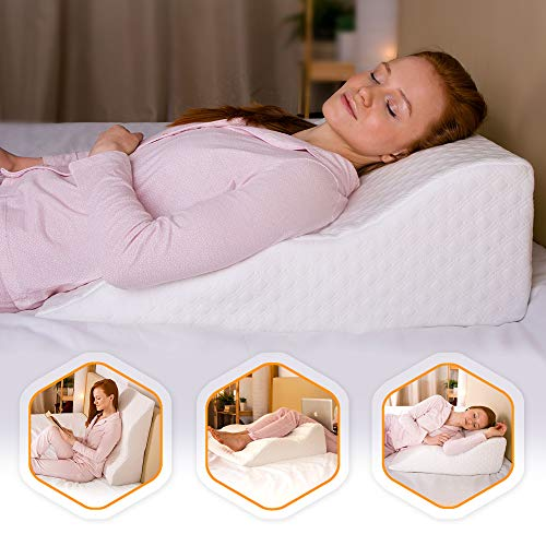 AERIS Wedge Pillow for Acid Reflux -%100 Memory Foam - Unique Curved Design - Helps with GERD, Sleep Apnea, Snoring, Poor Blood Circulation, Breathing Problems - Machine Washable Bamboo Cover