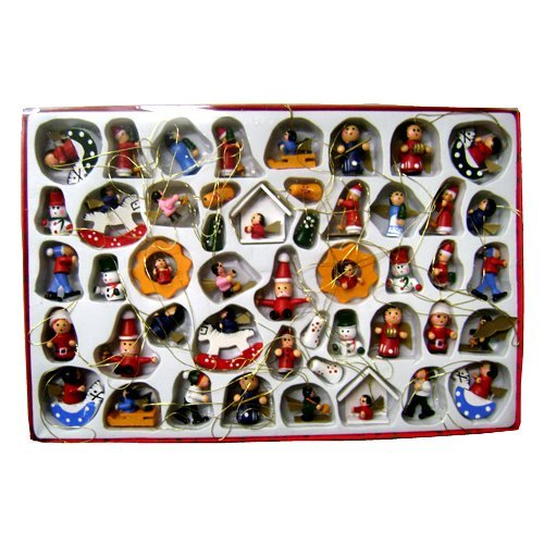 Kurt Adler Petite Treasures Wooden Mini Christmas Ornament Set of 48 Pieces