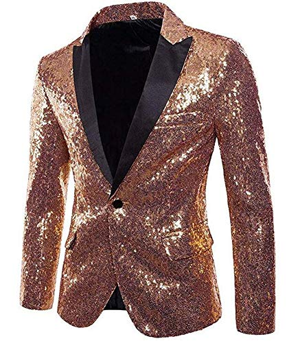 Sequins Jackets Mens Shiny Blazer Party Wedding Banquet Blazer Prom Tuxedo Rose Gold]()