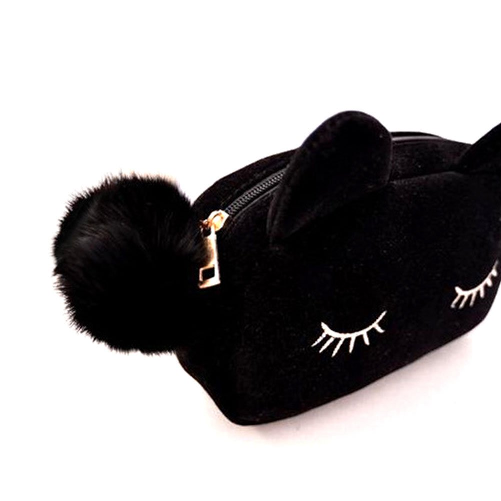 FaithYoo Cute Black Cartoon Cat Cosmetic Makeup Storage Bag Pen Pencil Pouch Case