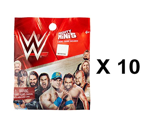 WWE Mighty Minis Series 1 Wrestling Mini Figure Blind Bag Party Favours - Pack of 10 by WWE